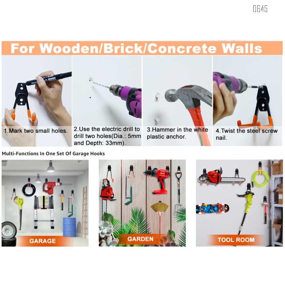U Medium Garage Hooks Heavy Duty , Steel Garage Storage Hooks, Tool Hangers for Garage Wall Utility Wall Mount Garage Hooks and Hangers with Anti-Slip Coating for Garden Tools, Ladders, Bulky Items