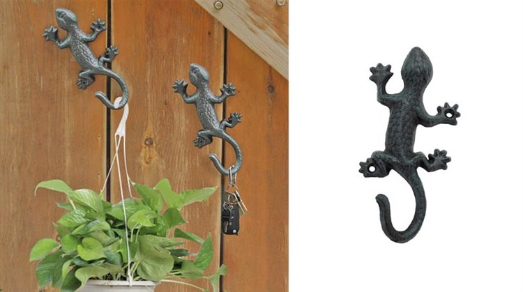 Coat Hooks Hanging Wall Mounted Rustic Decorative Gecko Hook, Cast Iron 6 Inch Key Holder Wall Decor
