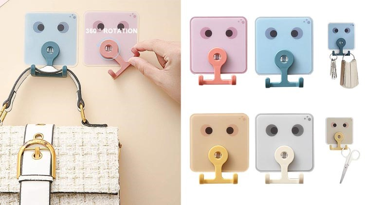 Adhesive Hooks Utility Hooks, Heavy Duty Coat Hooks Waterproof and Oilproof Seamless Hooks, Wall Hook for Bathroom Kitchen