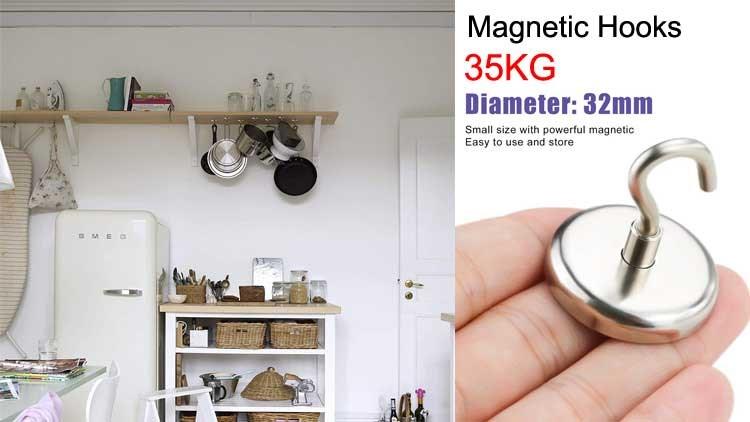 Magnetic Hooks,70 LB(35KG)Heavy Duty Neodymium Magnet Hook