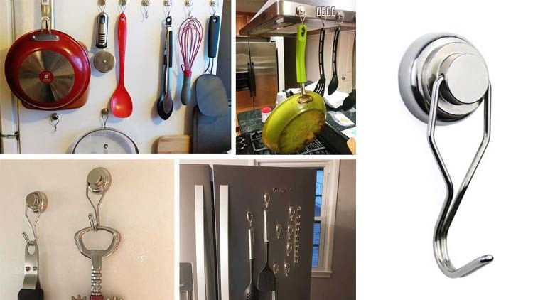 80LBS Swing Magnetic Hook New Upgraded, Refrigerator Magnetic Hooks ,Strong Neodymium Magnet Hook, Perfect for Refrigerator and Other Magnetic Surfaces