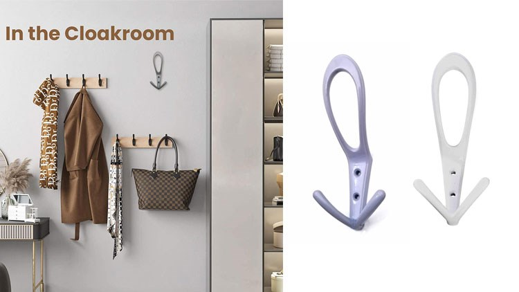 Three Prongs OverCoat Hooks Heavy Duty Hooks for Hanging Coat Wall Mounted No Rusty Hooks, Towel, Bags, Scarf, Hat, Cup