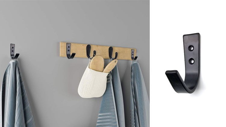 Black Coat Hooks Wall Mounted Single Prong Robe Hook for Hanging Towel Hooks for Bags, Hat, Cap, Scarf, Cup